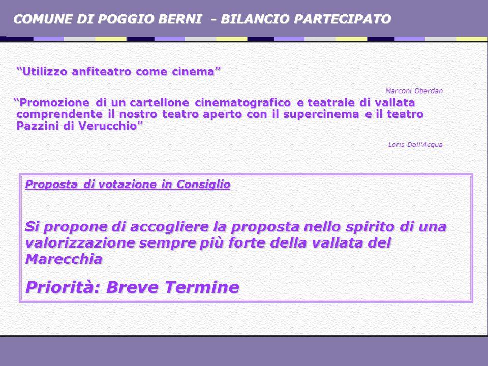 COMUNE DI POGGIO BERNI - BILANCIO PARTECIPATO Utilizzo anfiteatro come cinema Marconi Oberdan Promozione di un cartellone cinematografico e teatrale d