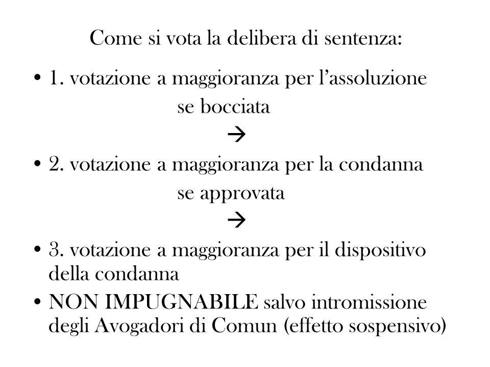 Come si vota la delibera di sentenza: 1. votazione a maggioranza per lassoluzione se bocciata 2. votazione a maggioranza per la condanna se approvata