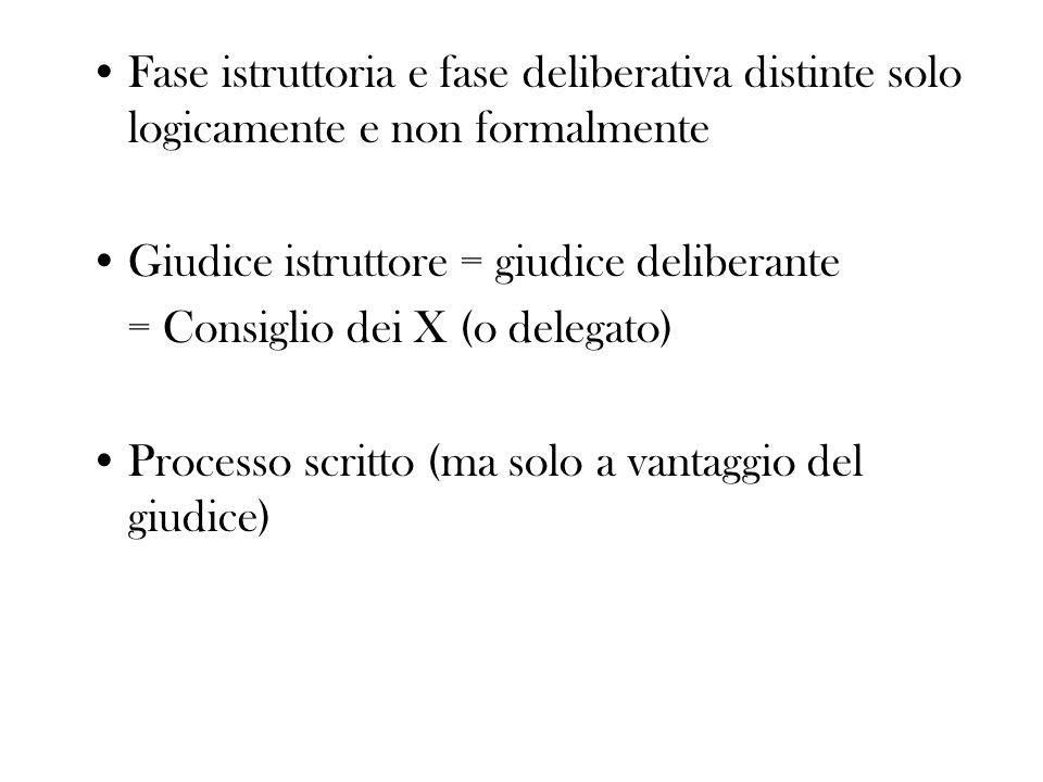 Fase istruttoria e fase deliberativa distinte solo logicamente e non formalmente Giudice istruttore = giudice deliberante = Consiglio dei X (o delegat