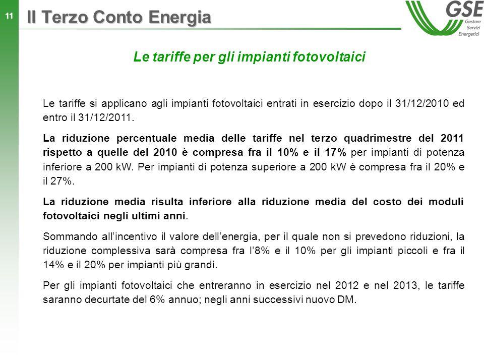 11 Le tariffe per gli impianti fotovoltaici Le tariffe si applicano agli impianti fotovoltaici entrati in esercizio dopo il 31/12/2010 ed entro il 31/