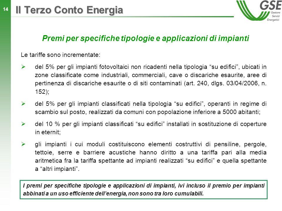 14 Premi per specifiche tipologie e applicazioni di impianti Le tariffe sono incrementate: del 5% per gli impianti fotovoltaici non ricadenti nella ti