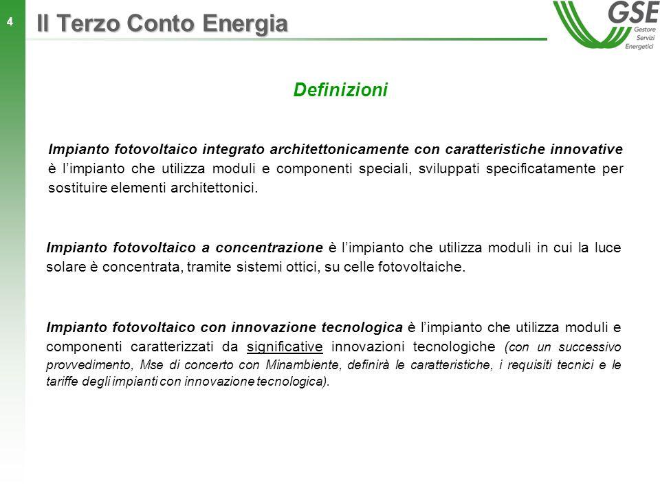 5 Obiettivi e limiti di potenza incentivabile Il limite di potenza incentivabile con il Terzo Conto Energia è pari a: 3000 MW per gli impianti fotovoltaici; 300 MW per gli impianti fotovoltaici integrati architettonicamente con caratteristiche innovative; 200 MW per gli impianti fotovoltaici a concentrazione.