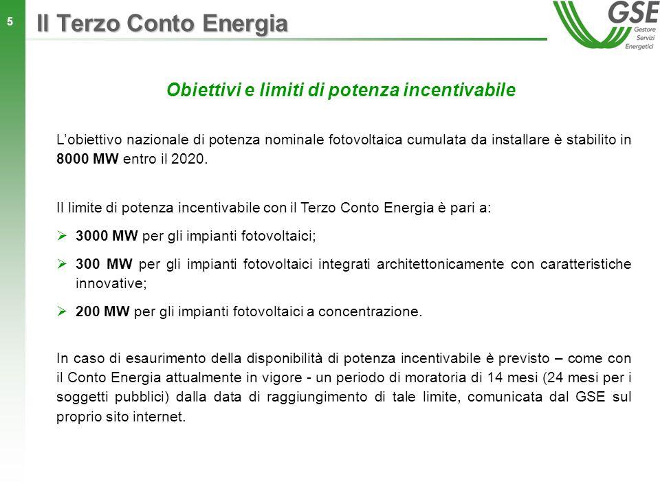 5 Obiettivi e limiti di potenza incentivabile Il limite di potenza incentivabile con il Terzo Conto Energia è pari a: 3000 MW per gli impianti fotovol
