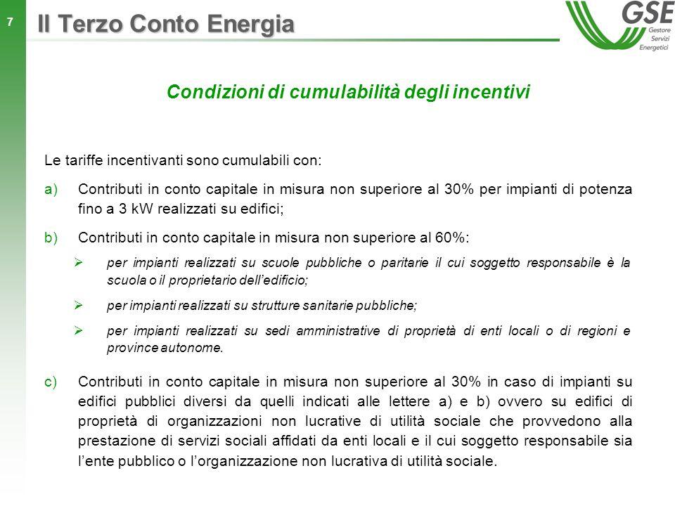 18 Le tariffe per gli impianti fotovoltaici a concentrazione Intervallo di potenza Tariffa corrispondente [kW] [/kWh] 1P200 0,37 200<P1000 0,32 200<P5000 0,28 Per gli impianti fotovoltaici a concentrazione è stato previsto un limite di potenza nominale incentivabile per singolo impianto pari a 5 MW.