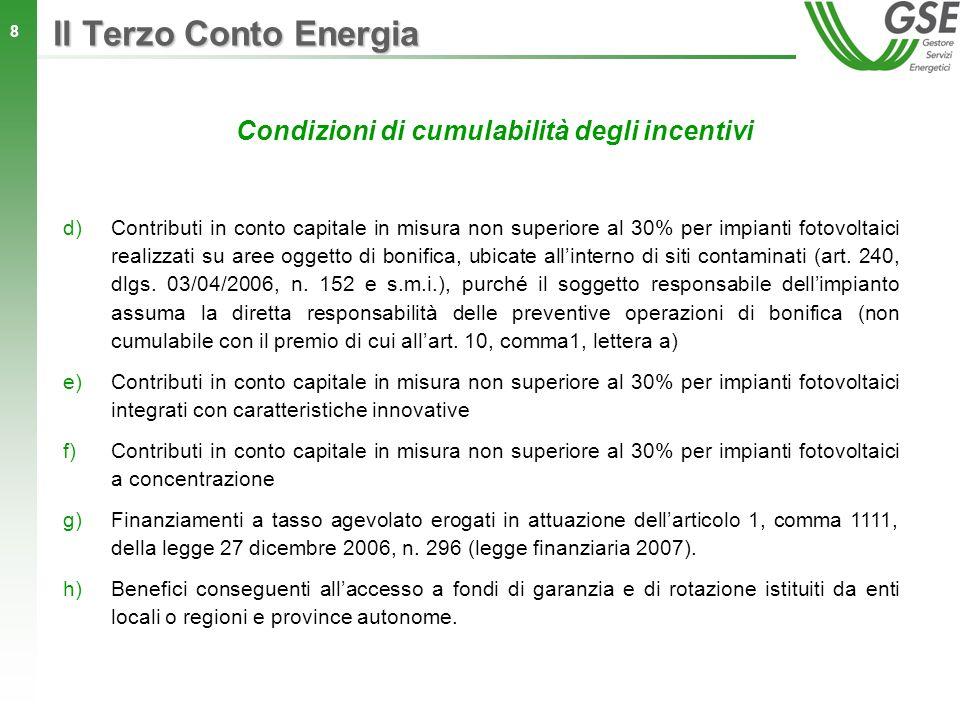 8 d)Contributi in conto capitale in misura non superiore al 30% per impianti fotovoltaici realizzati su aree oggetto di bonifica, ubicate allinterno d