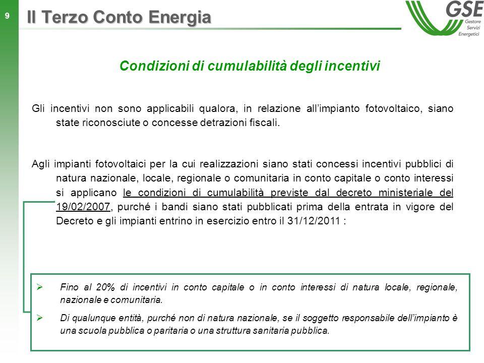 20 Il Terzo Conto Energia Le tariffe incentivanti previste per lanno 2010 dal D.M.
