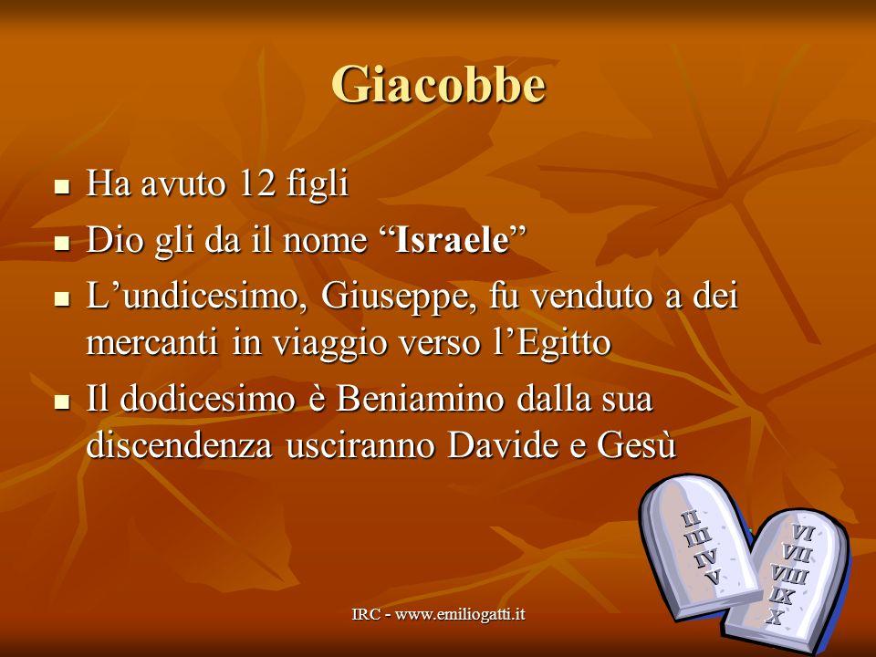 Giacobbe Ha avuto 12 figli Ha avuto 12 figli Dio gli da il nome Israele Dio gli da il nome Israele Lundicesimo, Giuseppe, fu venduto a dei mercanti in