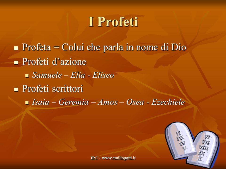 I Profeti Profeta = Colui che parla in nome di Dio Profeti dazione Samuele – Elia - Eliseo Profeti scrittori Isaia – Geremia – Amos – Osea - Ezechiele