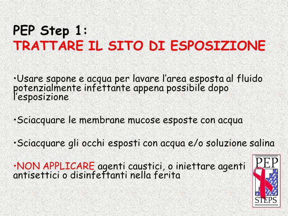 PEP Step 1: TRATTARE IL SITO DI ESPOSIZIONE Usare sapone e acqua per lavare larea esposta al fluido potenzialmente infettante appena possibile dopo le