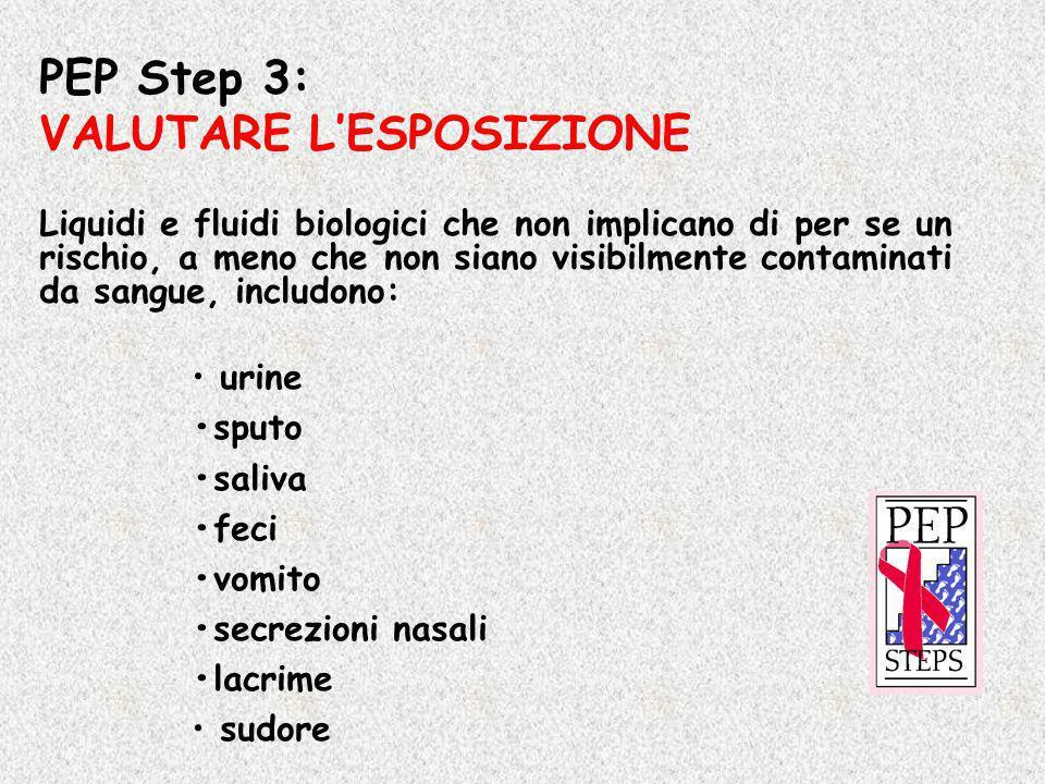 PEP Step 3: VALUTARE LESPOSIZIONE Liquidi e fluidi biologici che non implicano di per se un rischio, a meno che non siano visibilmente contaminati da