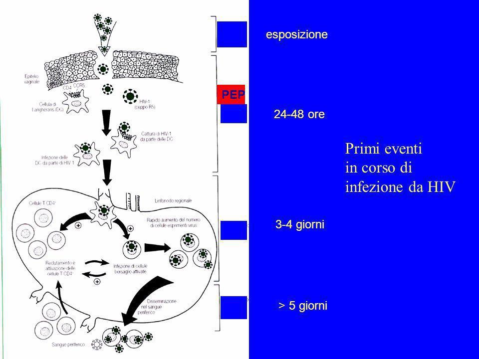 Primi eventi in corso di infezione da HIV esposizione 24-48 ore 3-4 giorni > 5 giorni PEP