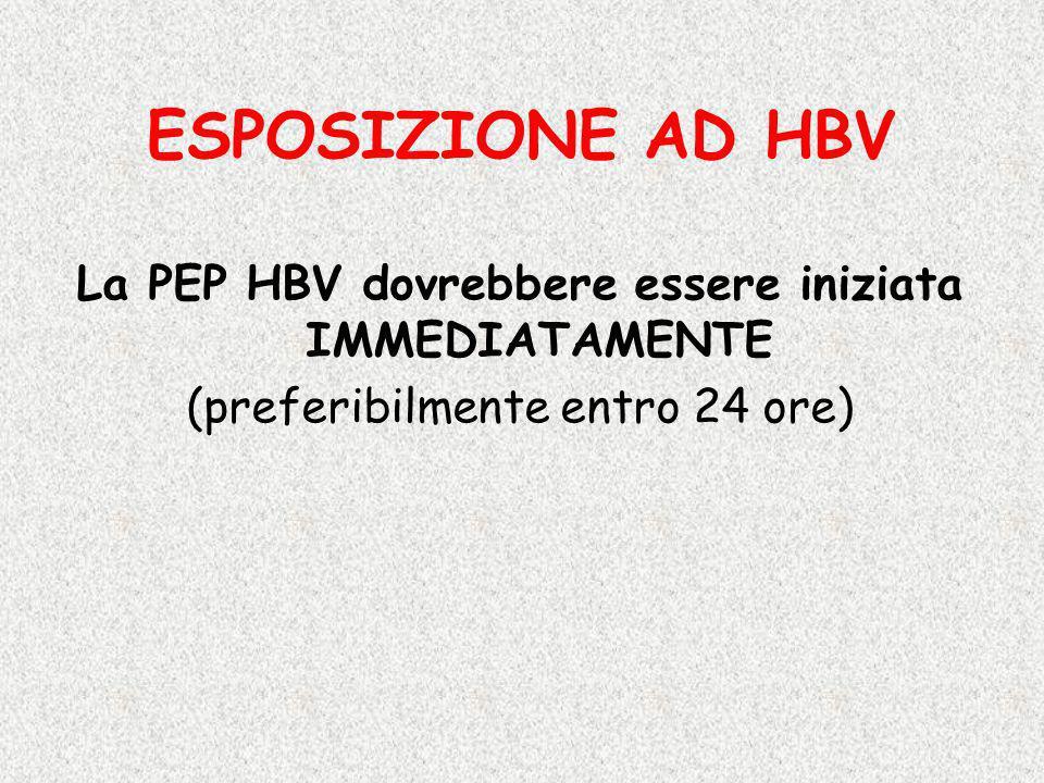 La PEP HBV dovrebbere essere iniziata IMMEDIATAMENTE (preferibilmente entro 24 ore) ESPOSIZIONE AD HBV
