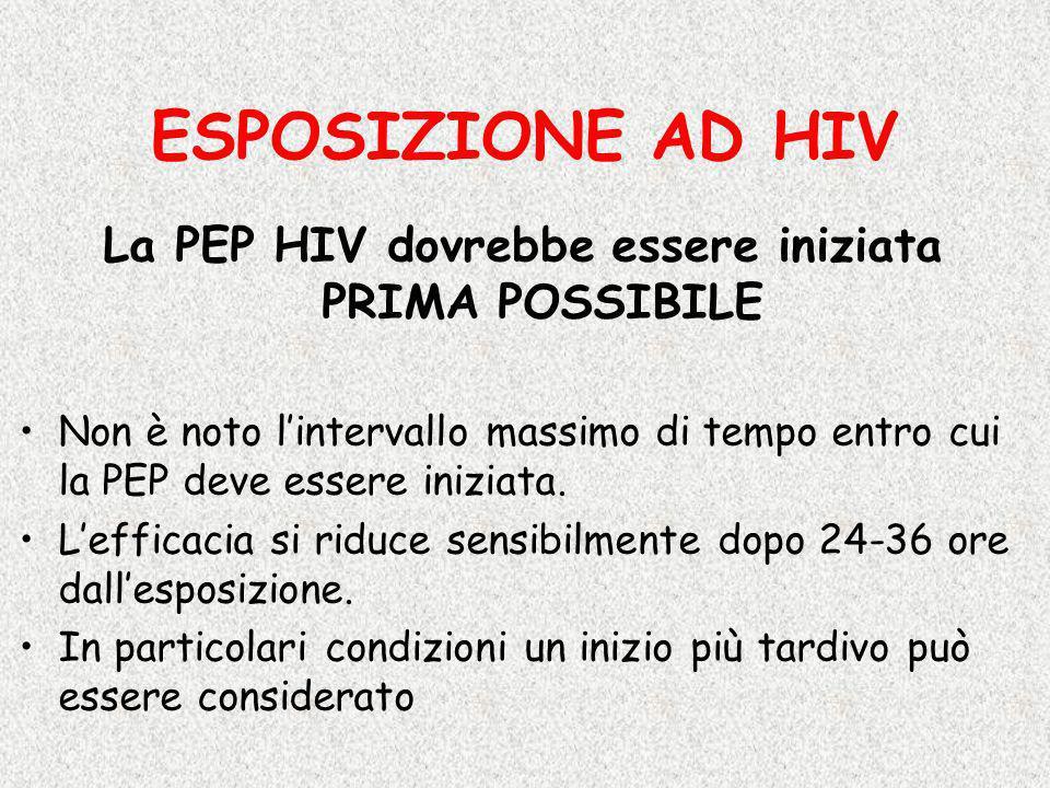 La PEP HIV dovrebbe essere iniziata PRIMA POSSIBILE Non è noto lintervallo massimo di tempo entro cui la PEP deve essere iniziata. Lefficacia si riduc