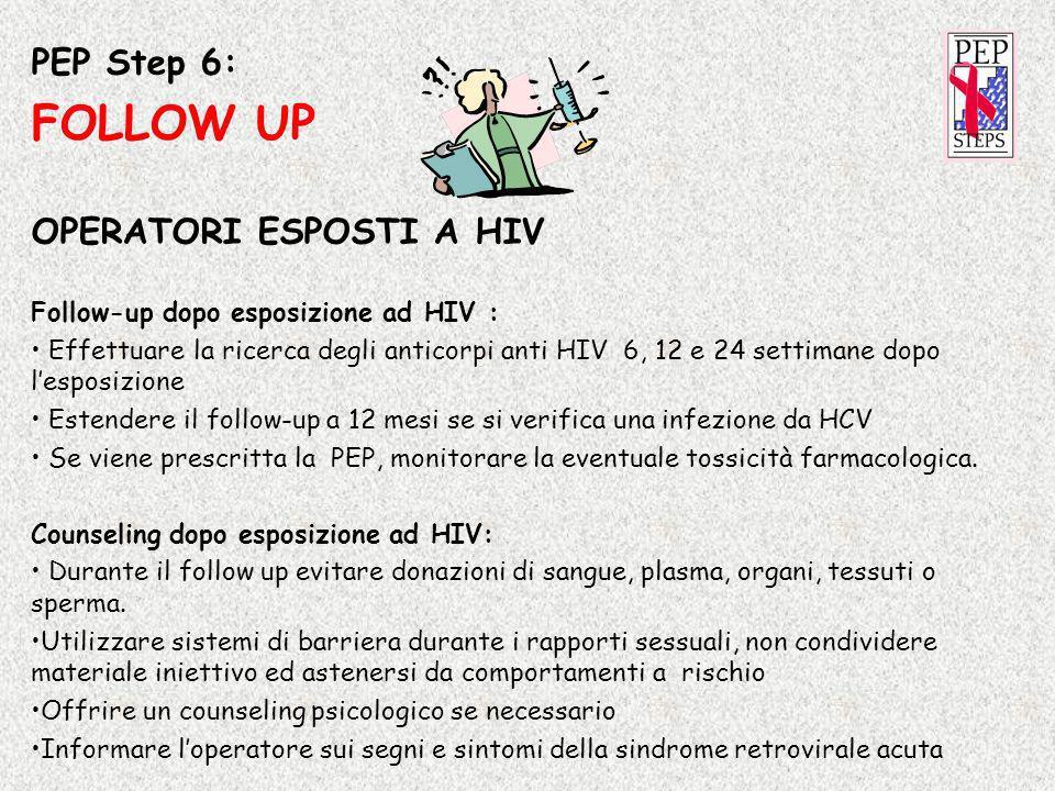 PEP Step 6: FOLLOW UP OPERATORI ESPOSTI A HIV Follow-up dopo esposizione ad HIV : Effettuare la ricerca degli anticorpi anti HIV 6, 12 e 24 settimane