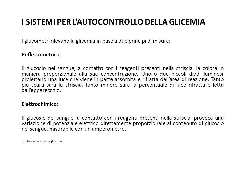 I SISTEMI PER LAUTOCONTROLLO DELLA GLICEMIA I glucometri rilevano la glicemia in base a due principi di misura: Reflettometrico: Il glucosio nel sangu
