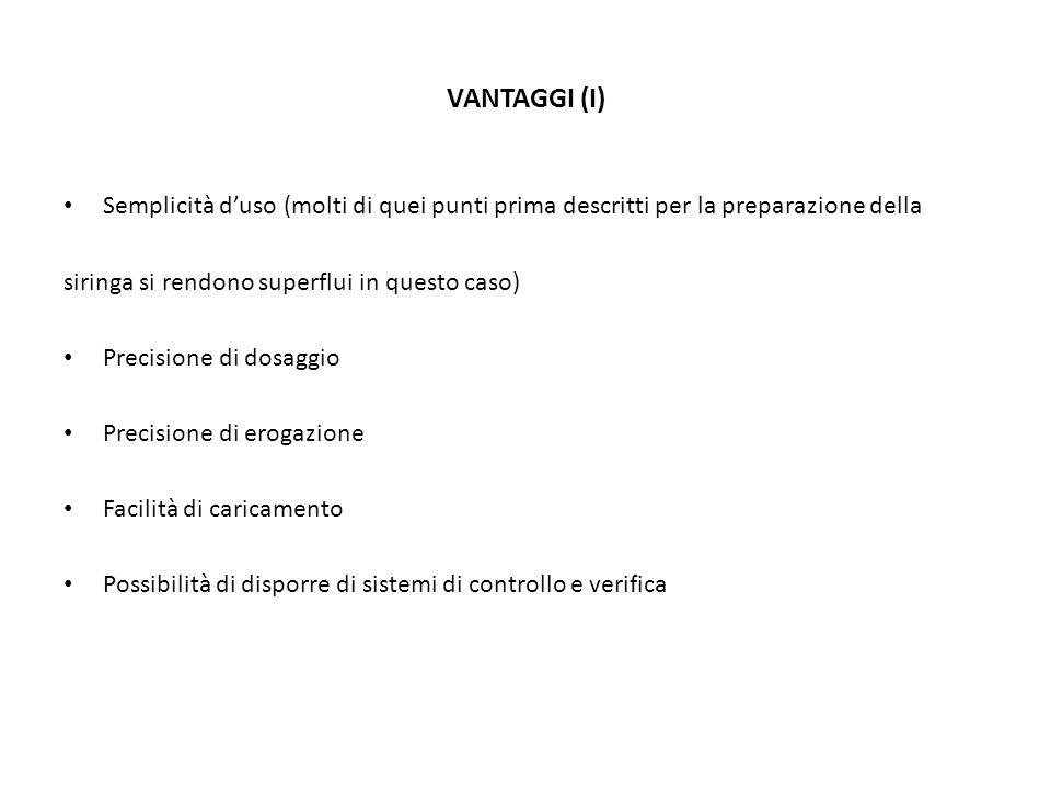 VANTAGGI (I) Semplicità duso (molti di quei punti prima descritti per la preparazione della siringa si rendono superflui in questo caso) Precisione di