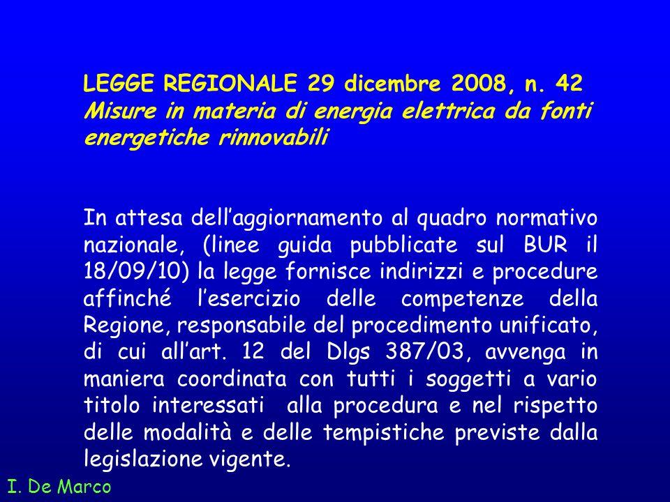 I. De Marco LEGGE REGIONALE 29 dicembre 2008, n. 42 Misure in materia di energia elettrica da fonti energetiche rinnovabili In attesa dellaggiornament