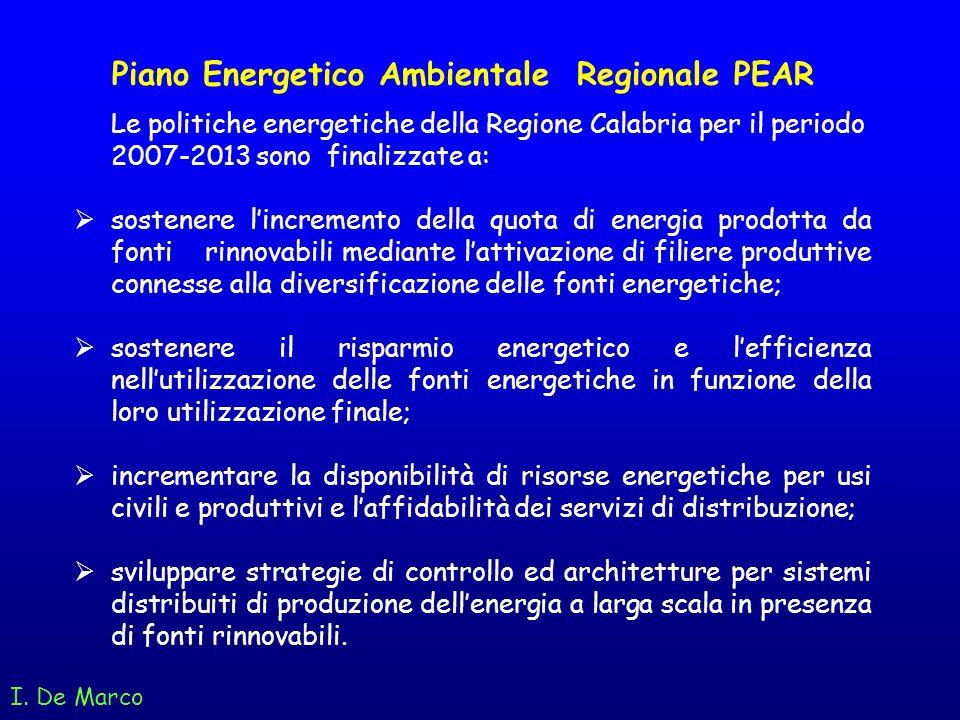 I. De Marco Piano Energetico Ambientale Regionale PEAR Le politiche energetiche della Regione Calabria per il periodo 2007-2013 sono finalizzate a: so
