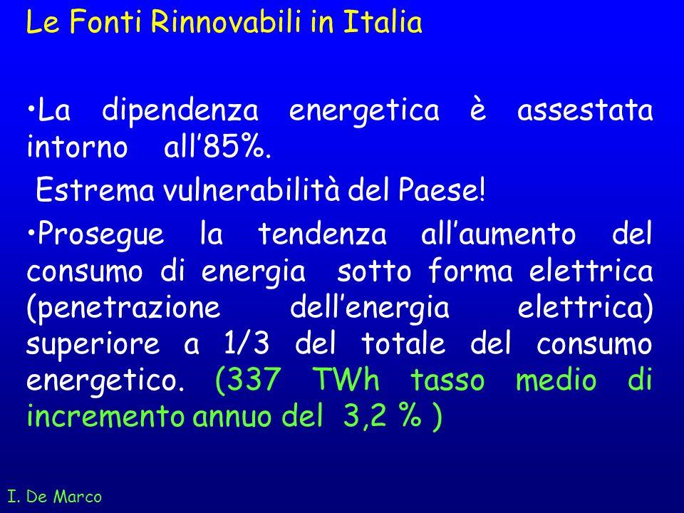 Le Fonti Rinnovabili in Italia La dipendenza energetica è assestata intorno all85%. Estrema vulnerabilità del Paese! Prosegue la tendenza allaumento d