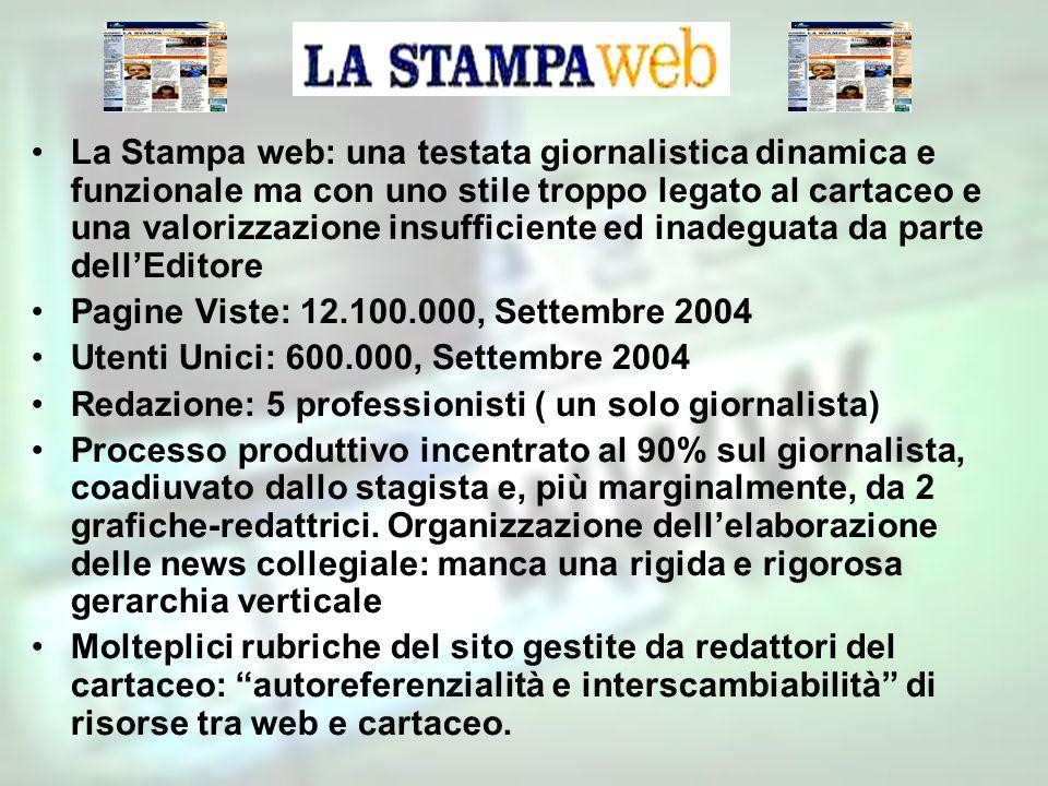La Stampa web: una testata giornalistica dinamica e funzionale ma con uno stile troppo legato al cartaceo e una valorizzazione insufficiente ed inadeg