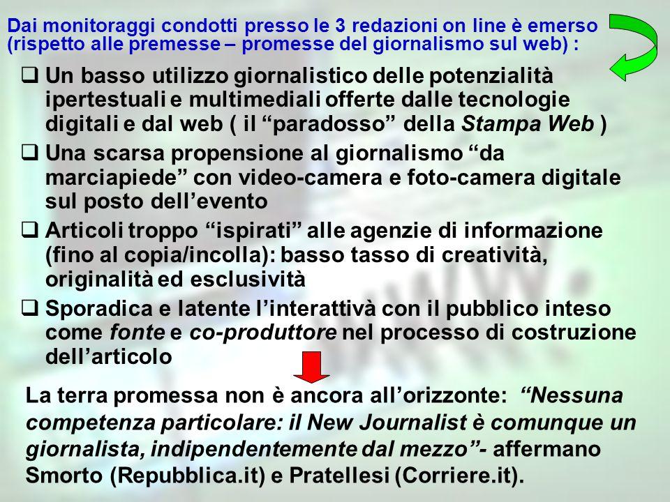 Un basso utilizzo giornalistico delle potenzialità ipertestuali e multimediali offerte dalle tecnologie digitali e dal web ( il paradosso della Stampa