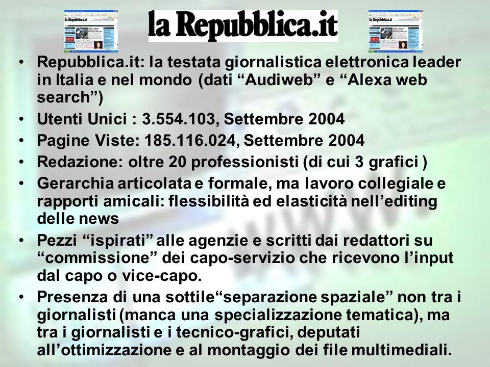Repubblica.it: la testata giornalistica elettronica leader in Italia e nel mondo (dati Audiweb e Alexa web search) Utenti Unici : 3.554.103, Settembre