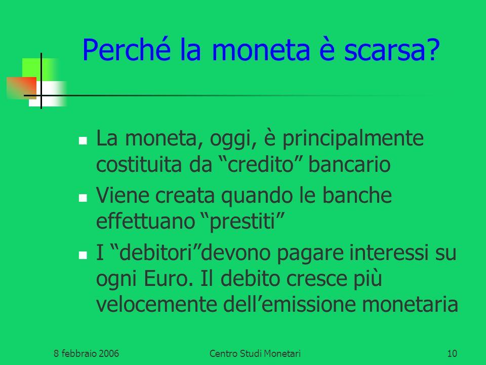 8 febbraio 2006Centro Studi Monetari10 Perché la moneta è scarsa? La moneta, oggi, è principalmente costituita da credito bancario Viene creata quando