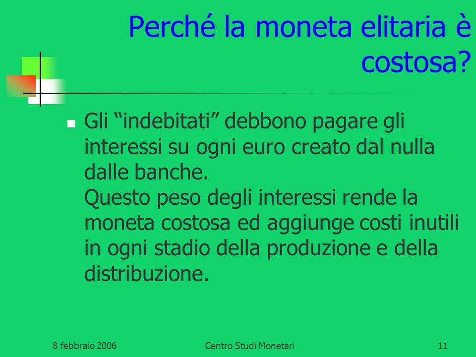 8 febbraio 2006Centro Studi Monetari11 Perché la moneta elitaria è costosa? Gli indebitati debbono pagare gli interessi su ogni euro creato dal nulla