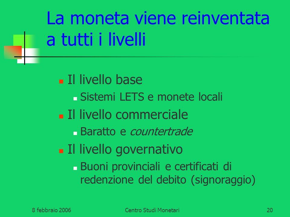 8 febbraio 2006Centro Studi Monetari20 La moneta viene reinventata a tutti i livelli Il livello base Sistemi LETS e monete locali Il livello commercia