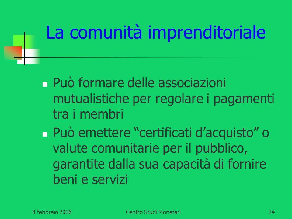 8 febbraio 2006Centro Studi Monetari24 La comunità imprenditoriale Può formare delle associazioni mutualistiche per regolare i pagamenti tra i membri