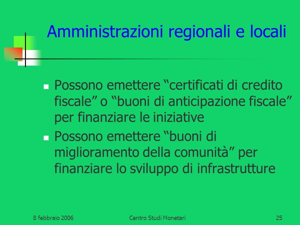 8 febbraio 2006Centro Studi Monetari25 Amministrazioni regionali e locali Possono emettere certificati di credito fiscale o buoni di anticipazione fis