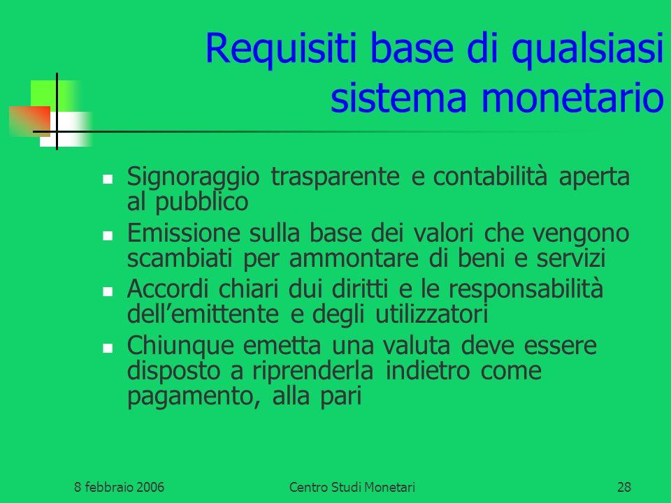 8 febbraio 2006Centro Studi Monetari28 Requisiti base di qualsiasi sistema monetario Signoraggio trasparente e contabilità aperta al pubblico Emission