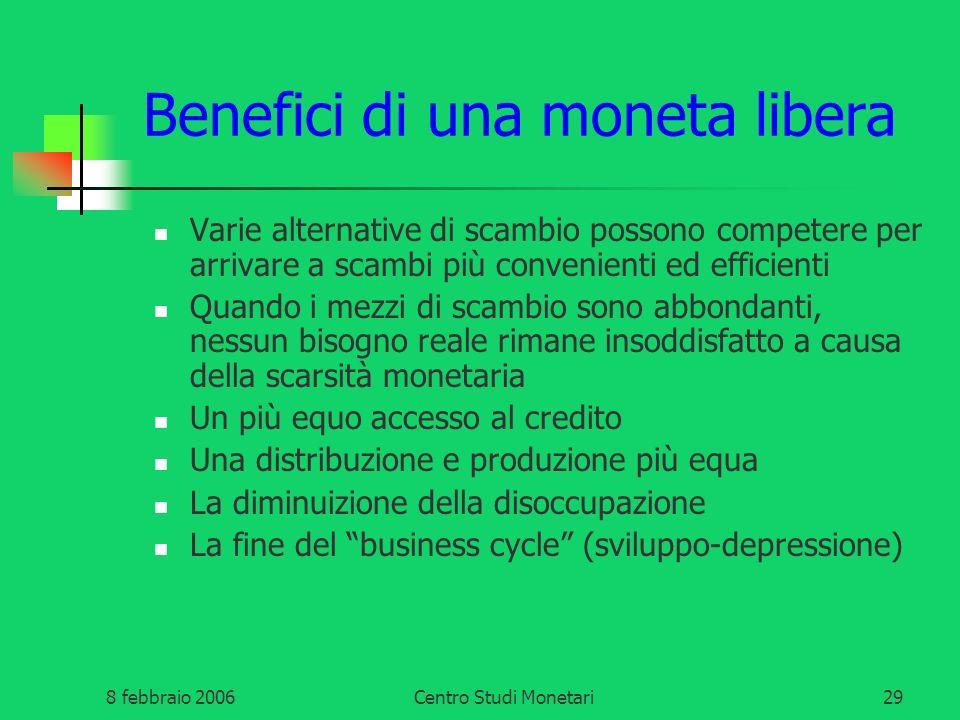 8 febbraio 2006Centro Studi Monetari29 Benefici di una moneta libera Varie alternative di scambio possono competere per arrivare a scambi più convenie