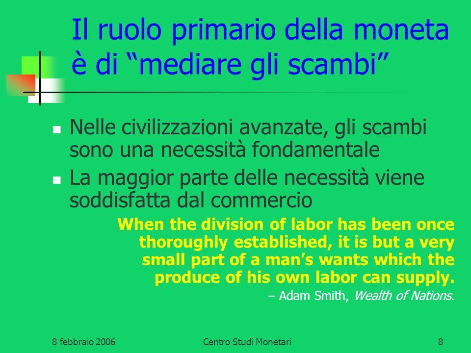 8 febbraio 2006Centro Studi Monetari9 Perché la Moneta elitaria è disfunzionale.