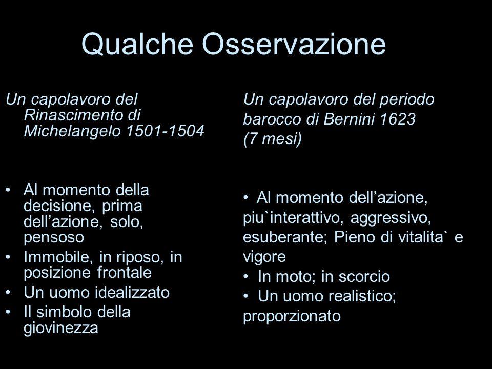 Qualche Osservazione Un capolavoro del Rinascimento di Michelangelo 1501-1504 Al momento della decisione, prima dellazione, solo, pensoso Immobile, in
