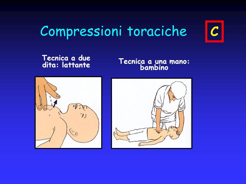 Compressioni toraciche Tecnica a due dita: lattante Tecnica a una mano: bambino C