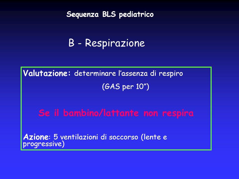 Sequenza BLS pediatrico B - Respirazione Valutazione: determinare lassenza di respiro (GAS per 10) Se il bambino/lattante non respira Azione : 5 venti