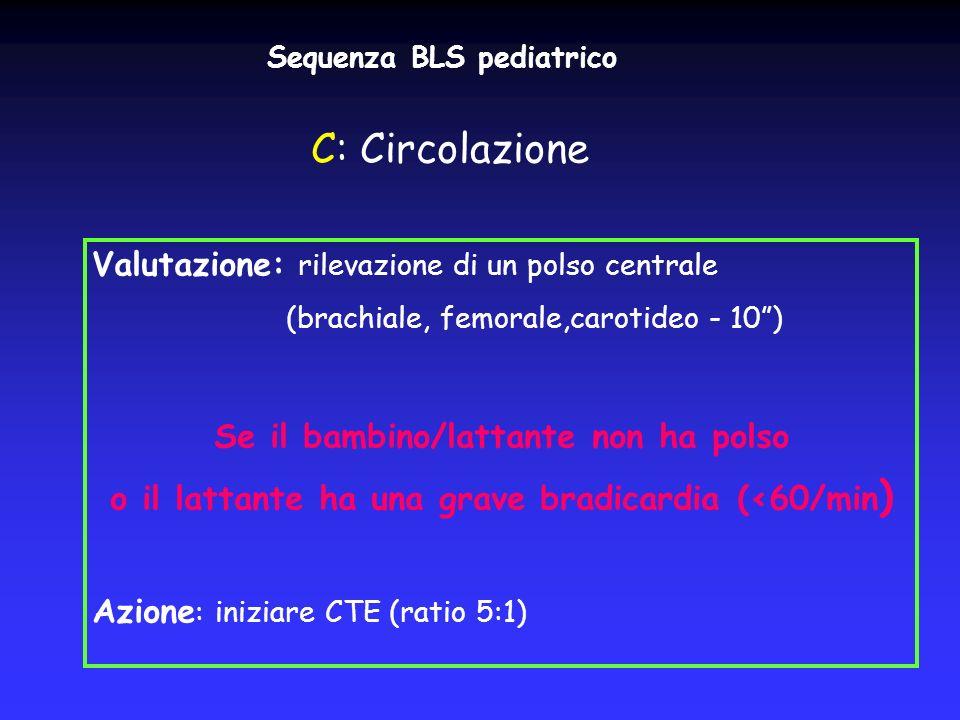 Sequenza BLS pediatrico Valutazione: rilevazione di un polso centrale (brachiale, femorale,carotideo - 10) Se il bambino/lattante non ha polso o il la