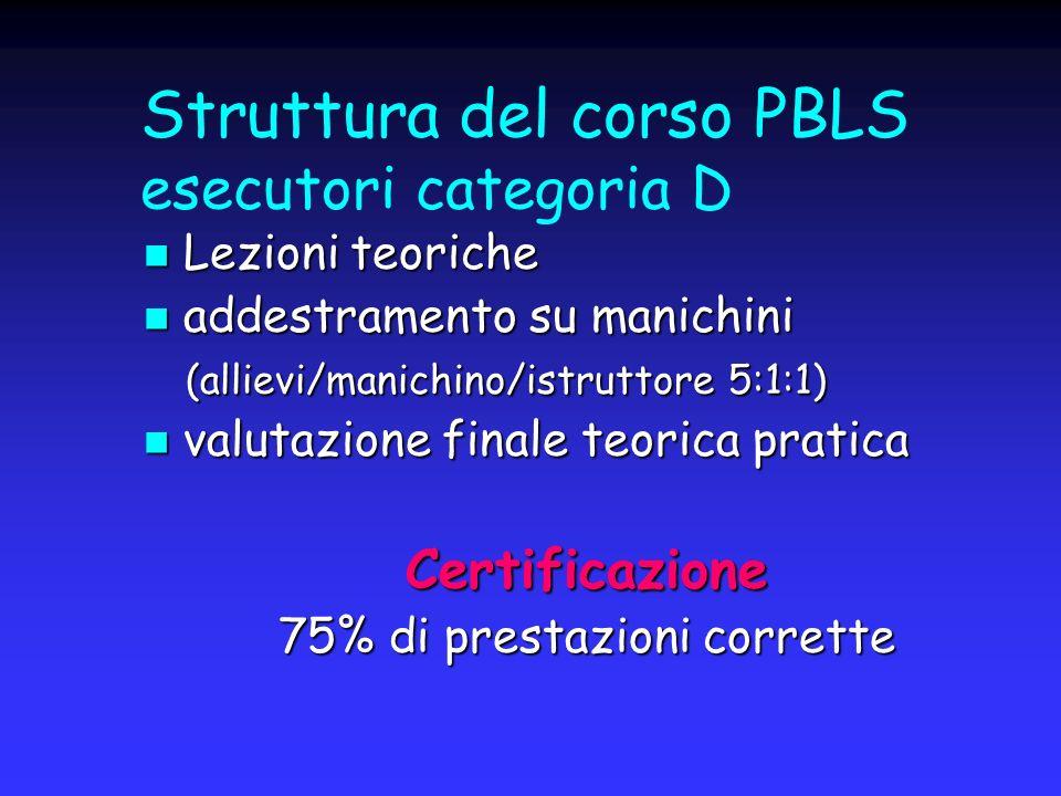 Struttura del corso PBLS esecutori categoria D Lezioni teoriche Lezioni teoriche addestramento su manichini addestramento su manichini (allievi/manich