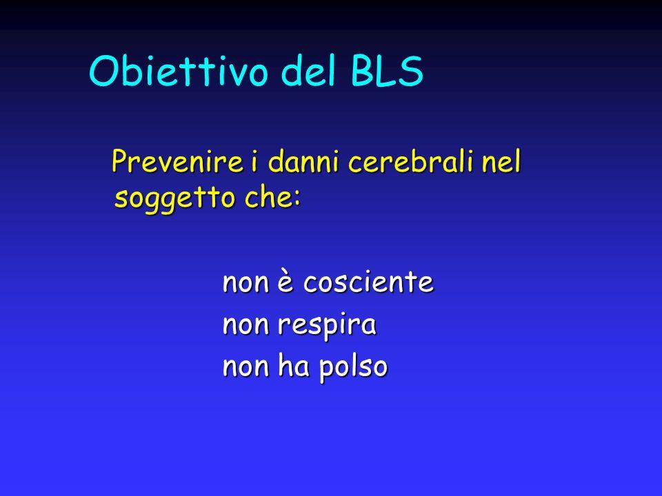 Obiettivo del BLS Prevenire i danni cerebrali nel soggetto che: Prevenire i danni cerebrali nel soggetto che: non è cosciente non è cosciente non resp