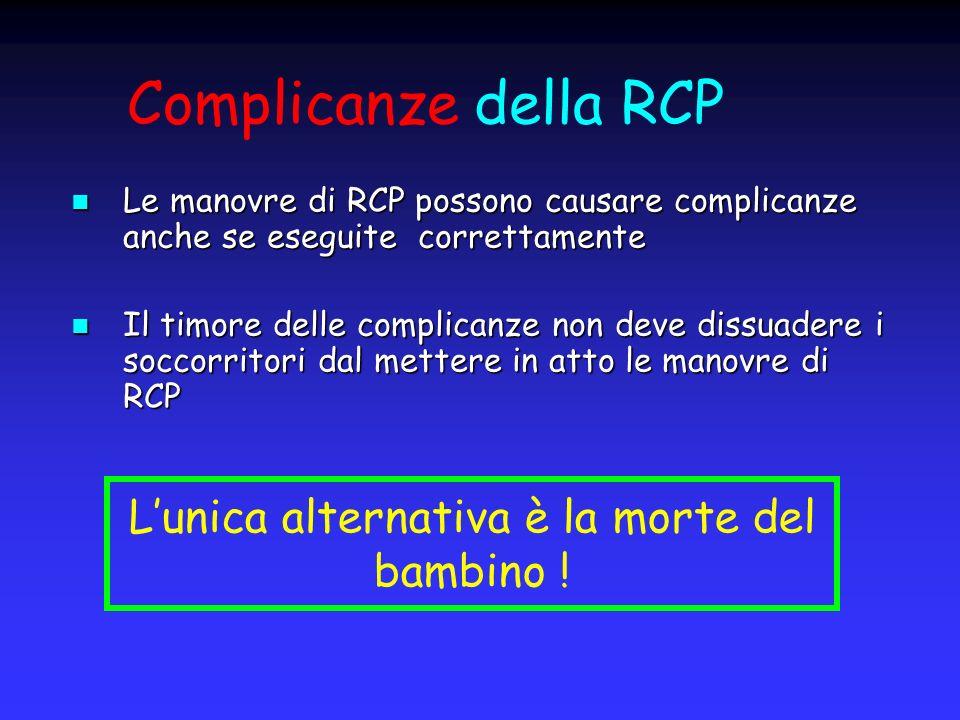 Complicanze della RCP Le manovre di RCP possono causare complicanze anche se eseguite correttamente Le manovre di RCP possono causare complicanze anch