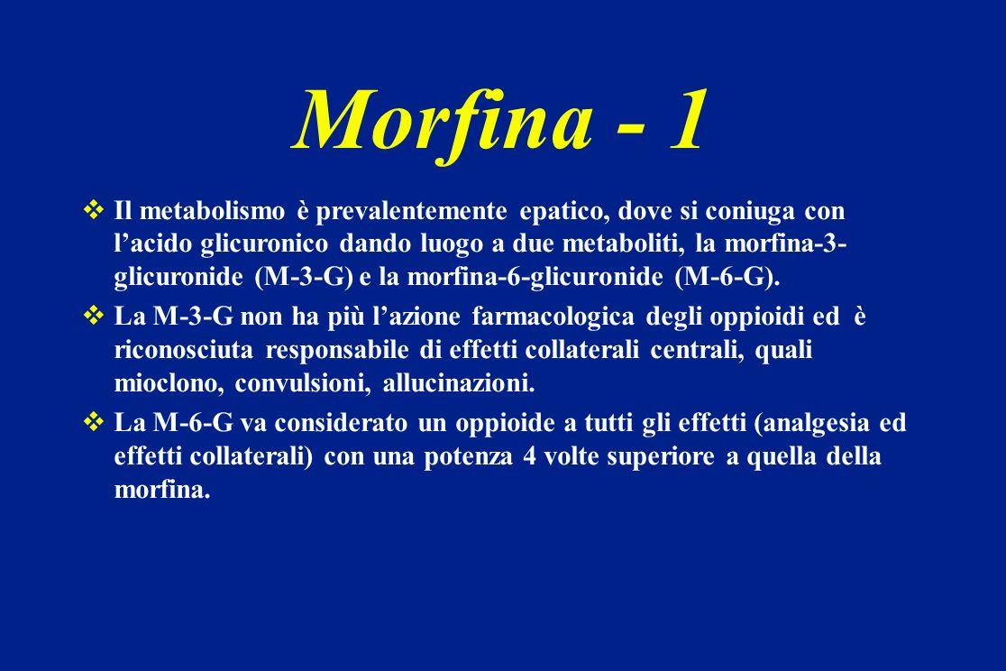 Morfina - 1 Il metabolismo è prevalentemente epatico, dove si coniuga con lacido glicuronico dando luogo a due metaboliti, la morfina-3- glicuronide (
