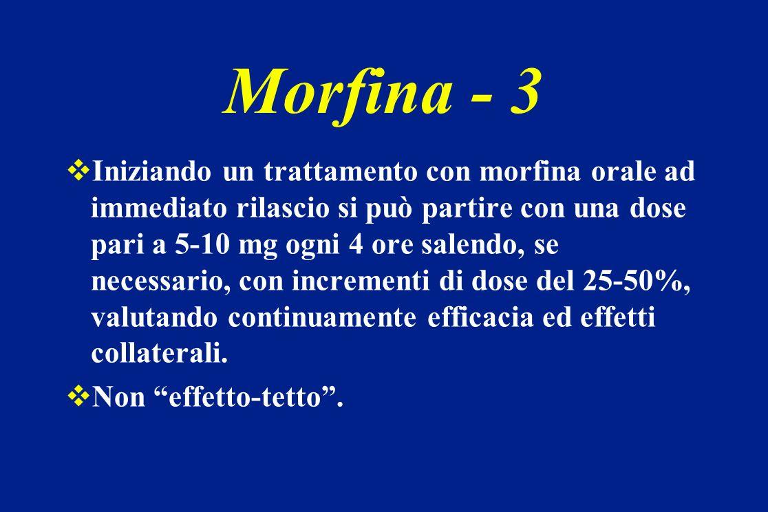 Iniziando un trattamento con morfina orale ad immediato rilascio si può partire con una dose pari a 5-10 mg ogni 4 ore salendo, se necessario, con inc