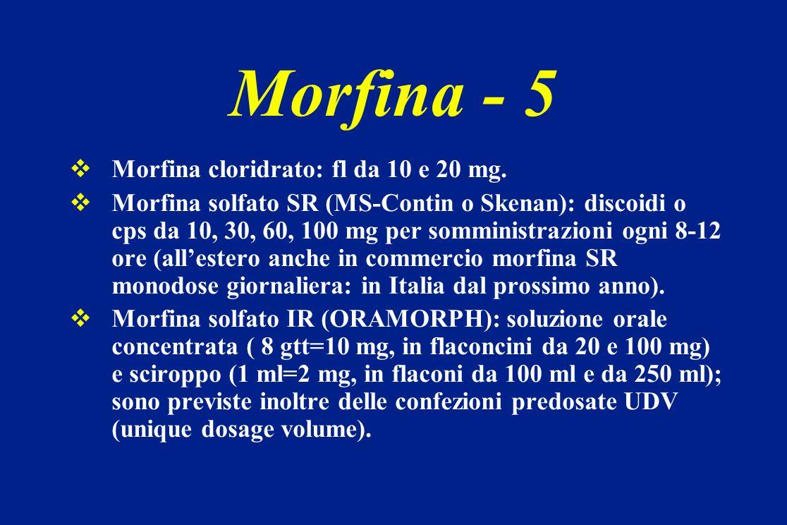 Morfina cloridrato: fl da 10 e 20 mg. Morfina solfato SR (MS-Contin o Skenan): discoidi o cps da 10, 30, 60, 100 mg per somministrazioni ogni 8-12 ore