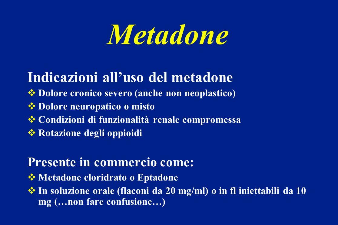 Metadone Indicazioni alluso del metadone Dolore cronico severo (anche non neoplastico) Dolore neuropatico o misto Condizioni di funzionalità renale co