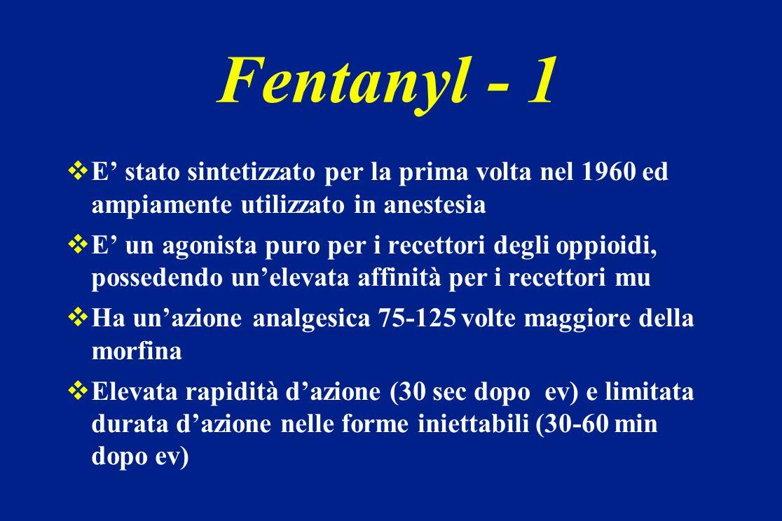 Fentanyl - 1 E stato sintetizzato per la prima volta nel 1960 ed ampiamente utilizzato in anestesia E un agonista puro per i recettori degli oppioidi,
