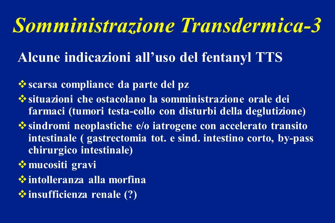 Alcune indicazioni alluso del fentanyl TTS scarsa compliance da parte del pz situazioni che ostacolano la somministrazione orale dei farmaci (tumori t