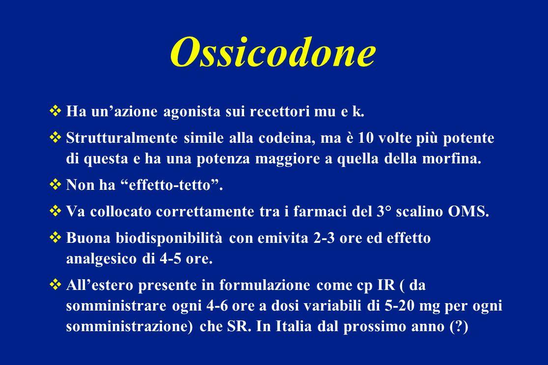 Ossicodone Ha unazione agonista sui recettori mu e k. Strutturalmente simile alla codeina, ma è 10 volte più potente di questa e ha una potenza maggio