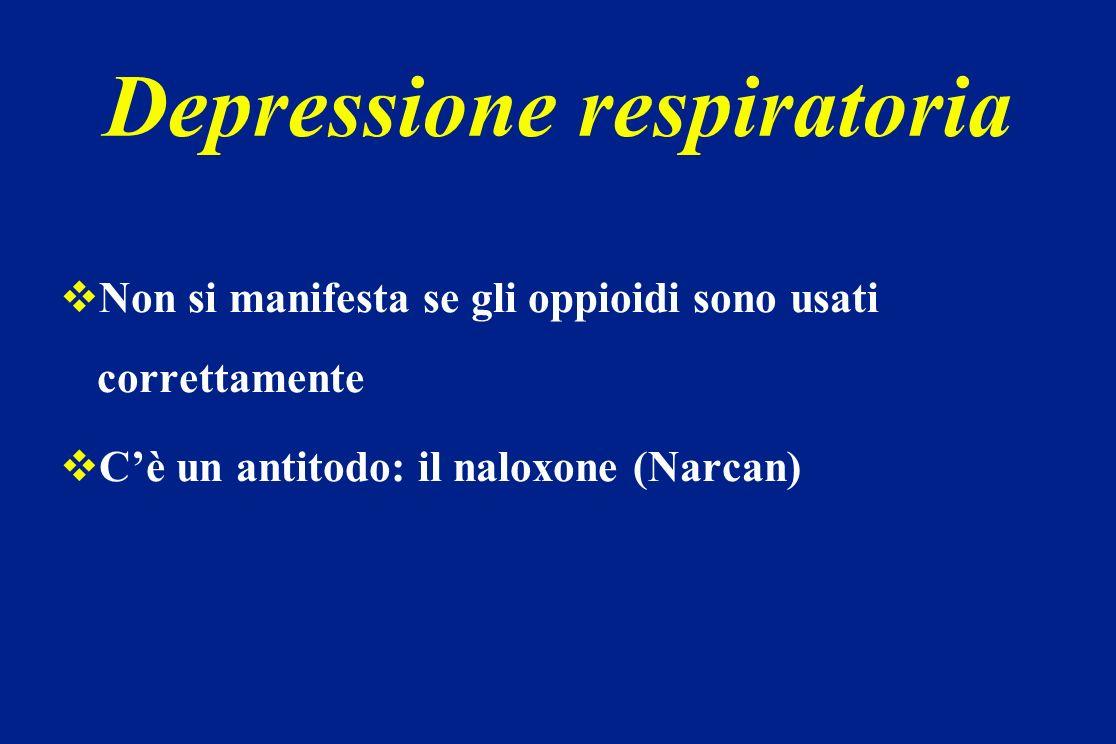 Depressione respiratoria Non si manifesta se gli oppioidi sono usati correttamente Cè un antitodo: il naloxone (Narcan)