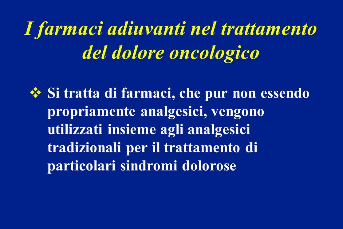 I farmaci adiuvanti nel trattamento del dolore oncologico Si tratta di farmaci, che pur non essendo propriamente analgesici, vengono utilizzati insiem